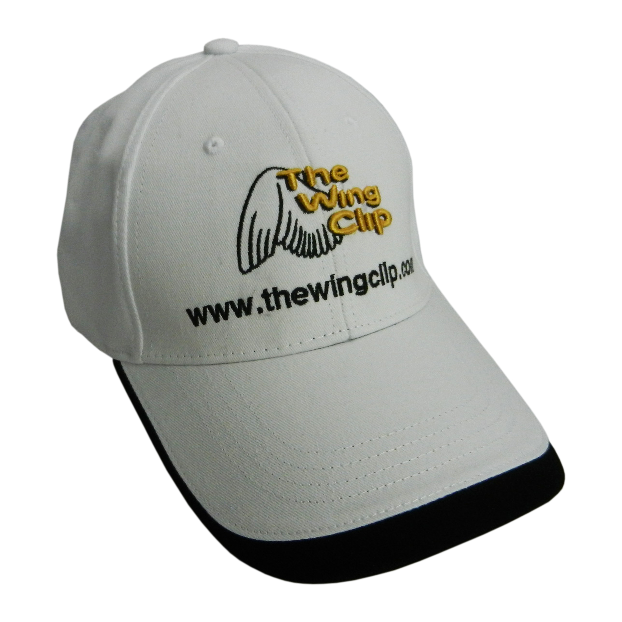 white ball cap with the wing clip logo embroidered